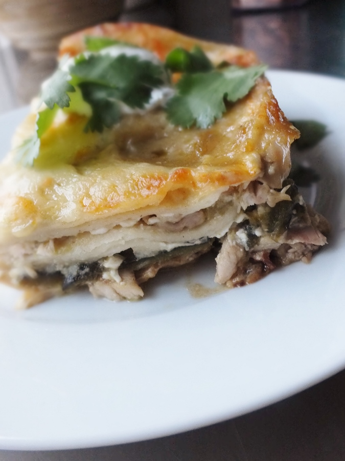 Stacked Chicken Enchiladas With Salsa Verde And Cheese ...