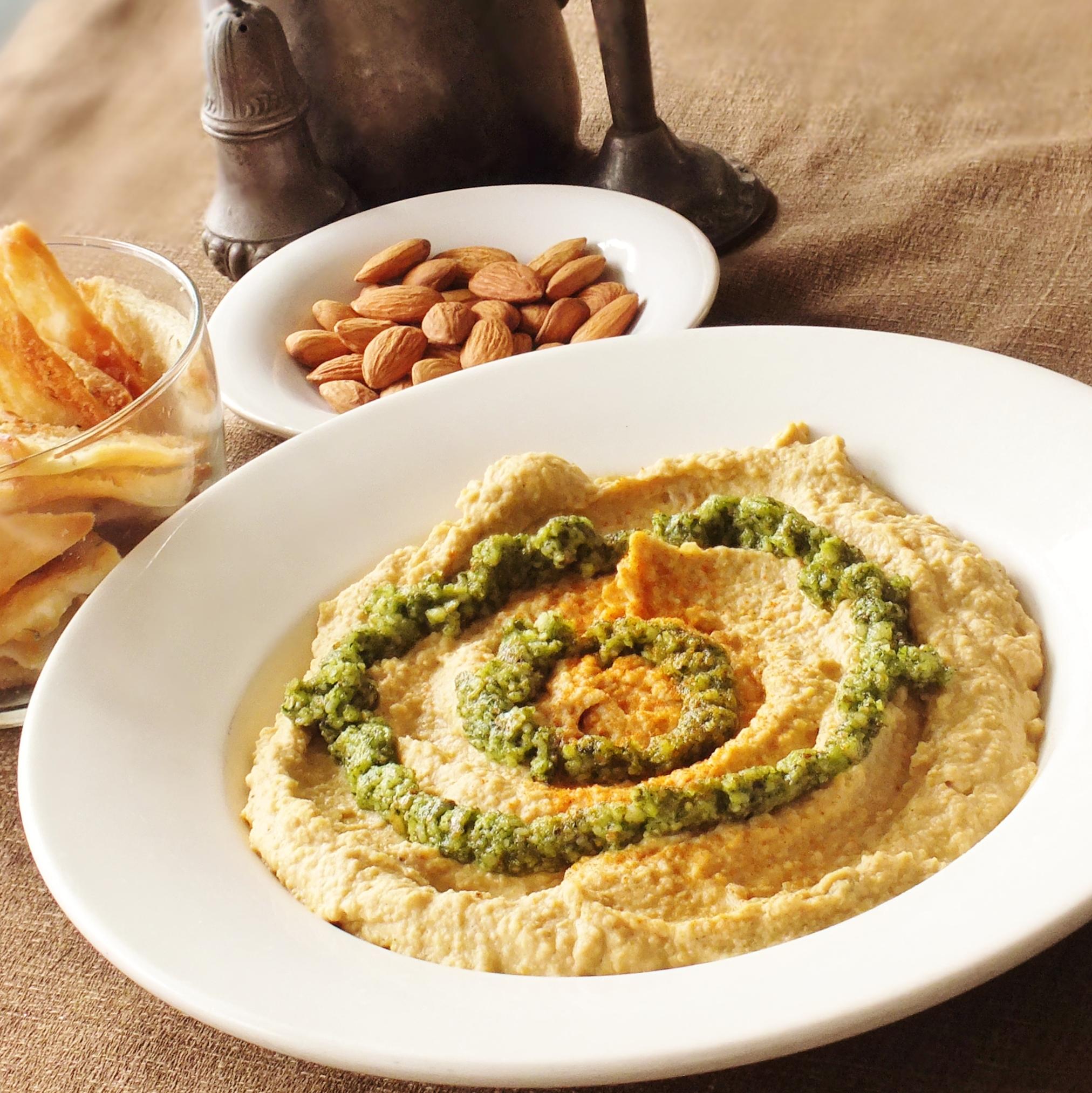 Curried Hummus with Cilantro Almond Pesto | DAVE BAKES