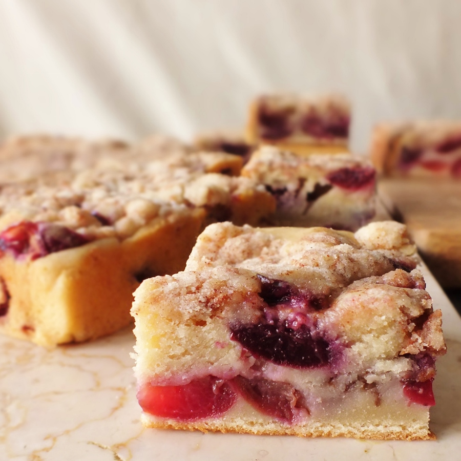 whole wheat cherry coffee cake with cinnamon streusel | DAVE BAKES