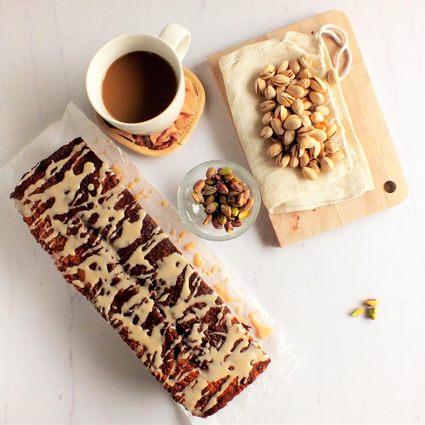 Cardamom Cake with Coffee Glaze Cardamom Cake with Coffee Glaze new foto