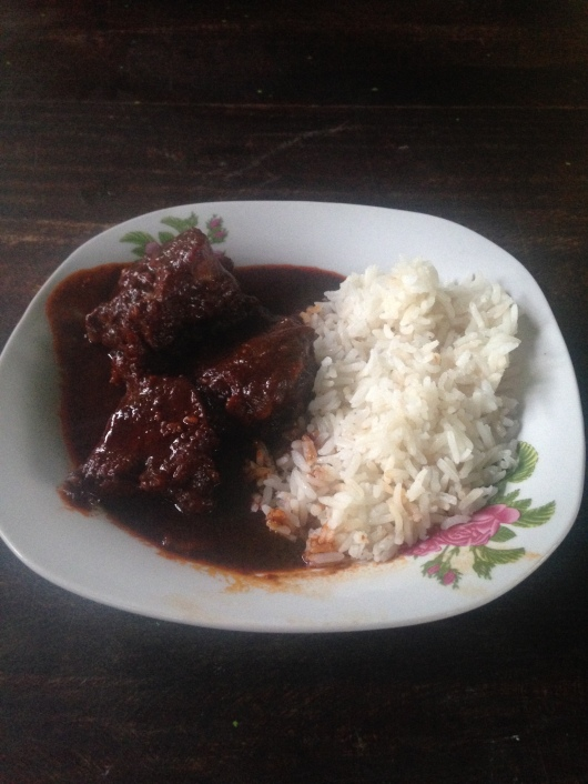 Cerdo Adobo con arroz made by Ben's youngest sister, Inez.